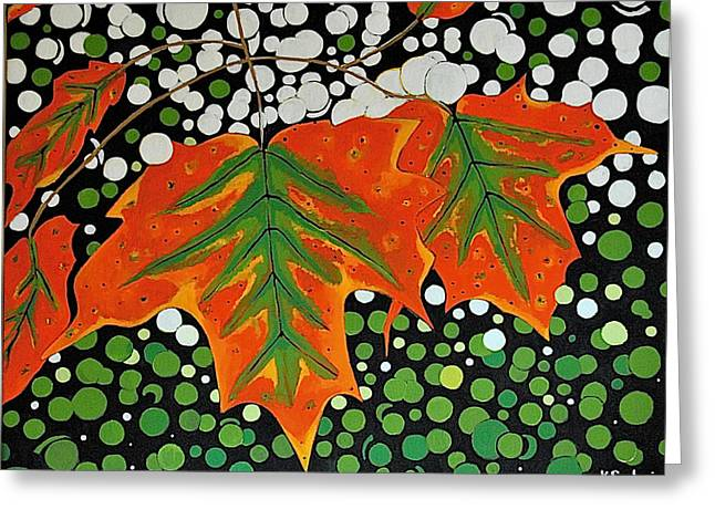 Greeting Card featuring the painting Autumns Kiss by Kathleen Sartoris