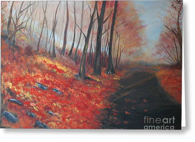 Greeting Card featuring the painting Autumns Pathway by Leslie Allen
