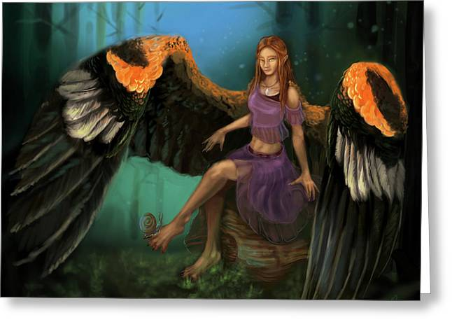 Autumn's Wings Greeting Card by Poppy Paizs