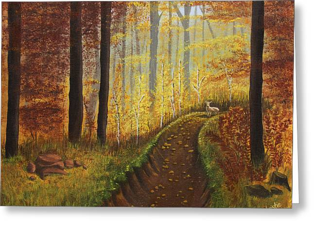Autumn's Wooded Riverbed Greeting Card by Christie Nicklay