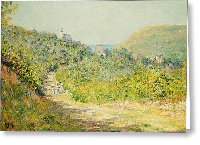 Coastal Route Greeting Cards - Aux Petites Dalles Greeting Card by Claude Monet