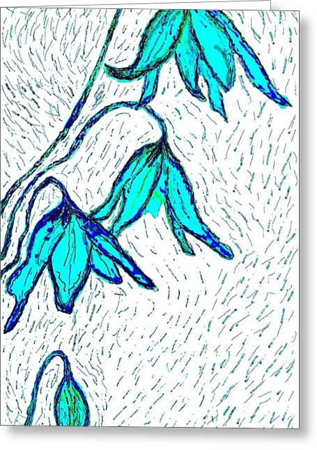 Avalanche Lilys In Blue Greeting Card by Brenda Adams