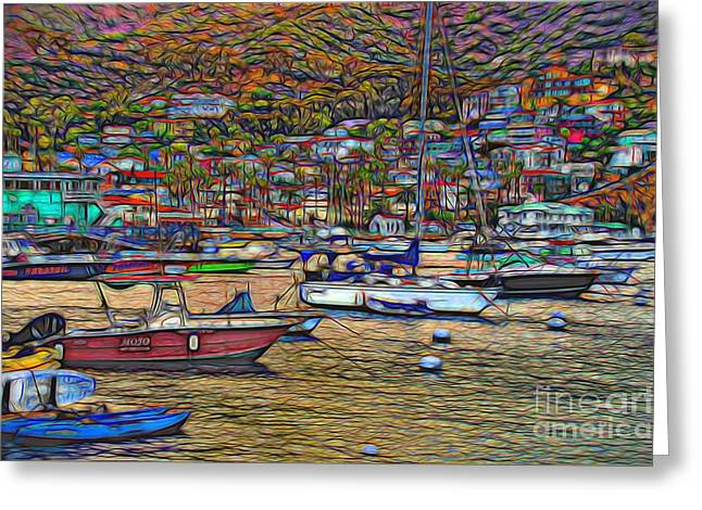 Avalon Harbor Sunset Greeting Card by Norma Warden
