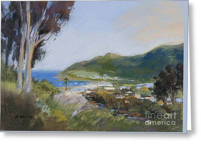 Avalon Harbor - Taking The High Road Catalina Island Oil Painting Greeting Card by Karen Winters
