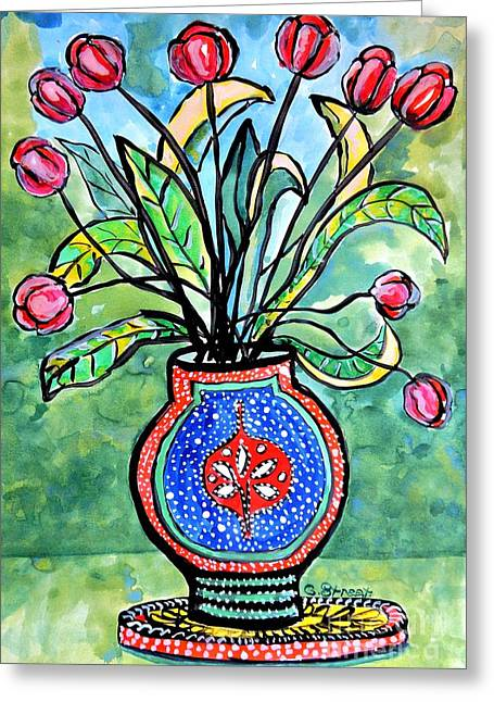 Avant Garde Vase With Tulips Greeting Card