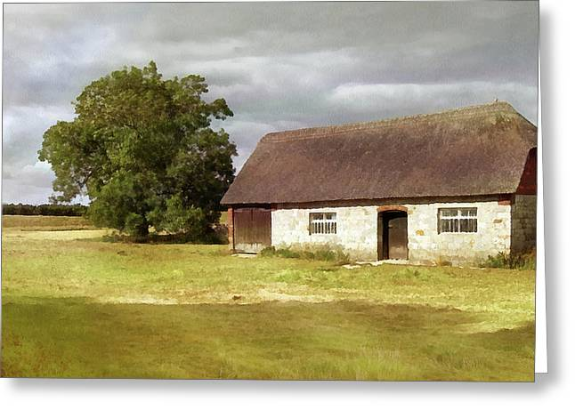 Avebury Cottage Tree And Standing Stone Greeting Card