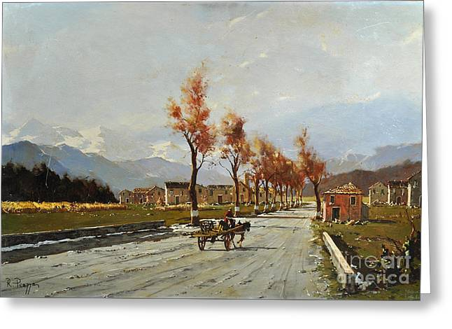 Greeting Card featuring the painting Avellino's Landscape  by Rosario Piazza