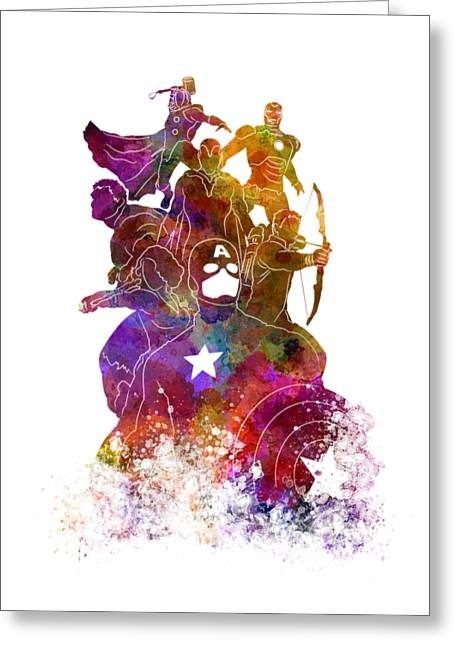 Avengers 02 In Watercolor Greeting Card