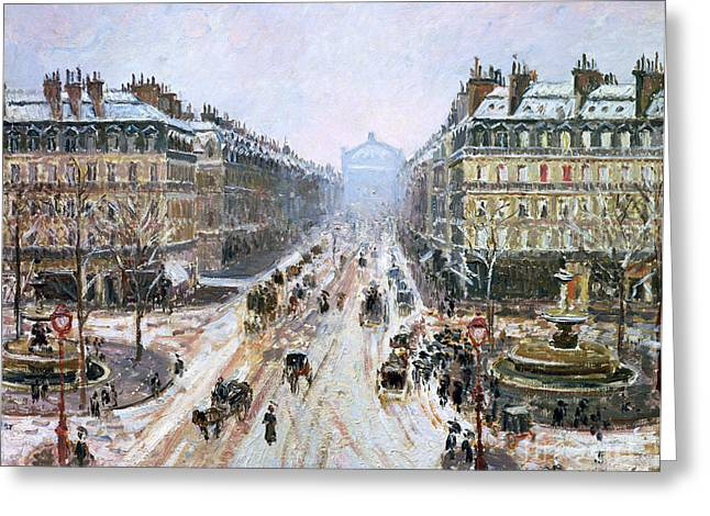 Slush Greeting Cards - Avenue de lOpera - Effect of Snow Greeting Card by Camille Pissarro