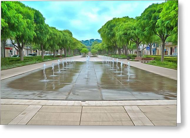 Avenue Jean Jaures Nimes Fountains Greeting Card by Scott Carruthers