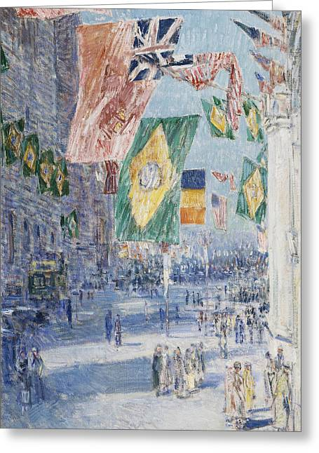 Avenue Of The Allies  Brazil  Belgium Greeting Card by Childe Hassam