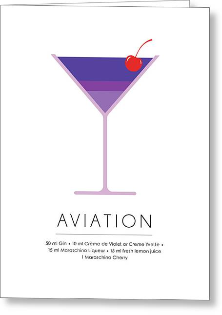 Aviation Classic Cocktail Minimalist Print Greeting Card
