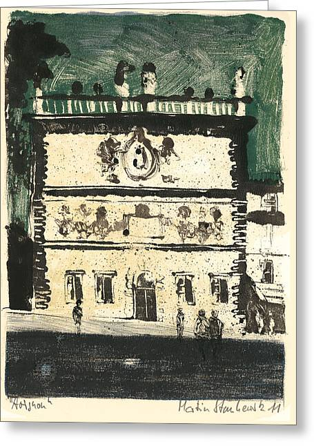 Greeting Card featuring the painting Avignon Historic Building by Martin Stankewitz