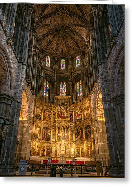 Avila Cathedral Greeting Card by Joan Carroll