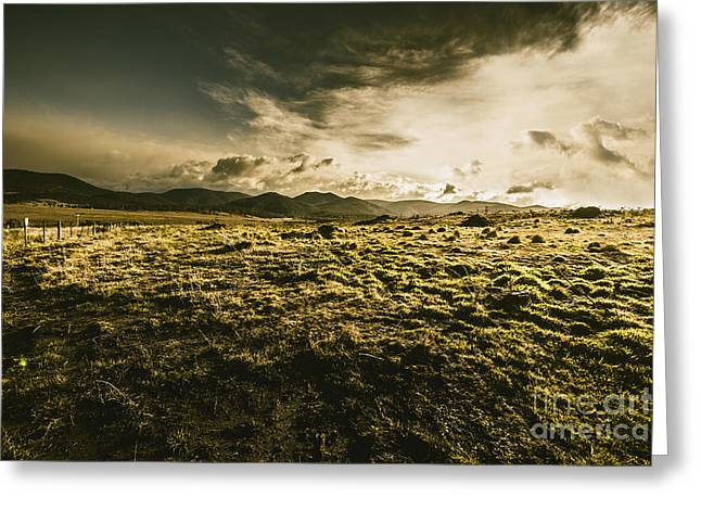 Avoca Fields And Mountains Greeting Card