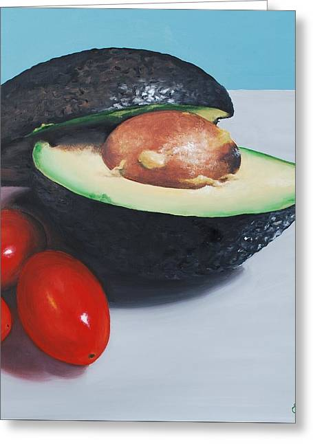 Avocado And Cherry Tomatoes Greeting Card