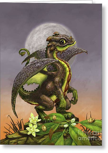 Avocado Dragon Greeting Card by Stanley Morrison