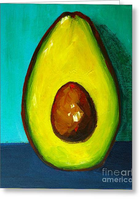 Avocado Modern Art, Kitchen Decor, Aqua Background Greeting Card