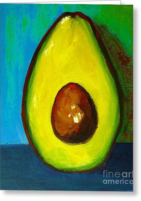 Avocado, Modern Art, Kitchen Decor, Blue Green Background Greeting Card