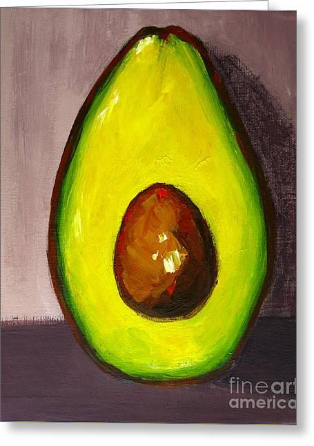 Avocado Modern Art, Kitchen Decor, Grey Background Greeting Card