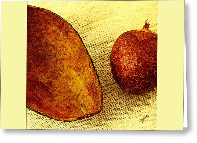 Avocado Seed And Skin II Greeting Card by Ben and Raisa Gertsberg