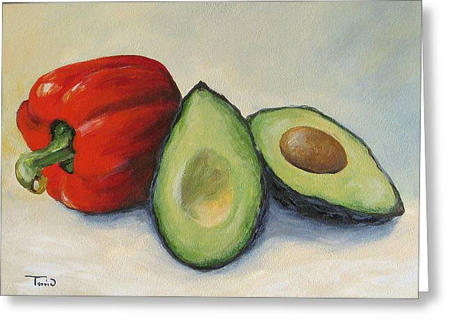 Avocado Green Greeting Cards - Avocado with Bell Pepper Greeting Card by Torrie Smiley