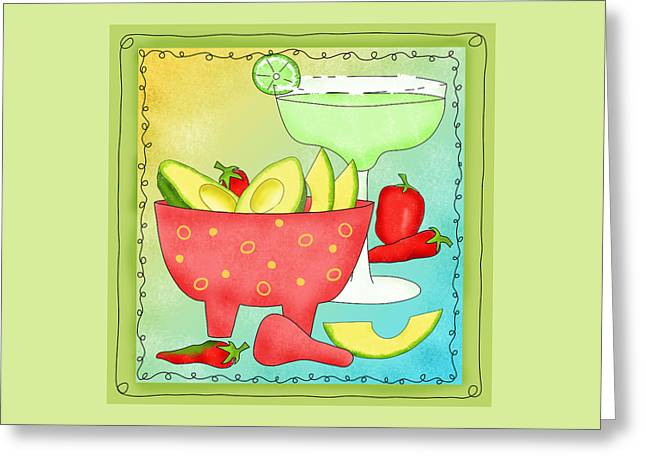 Avocados And Margaritas Greeting Card by Phyllis Dobbs