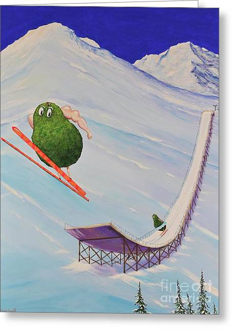 Greeting Card featuring the painting Avocados Can Fly by Mary Scott
