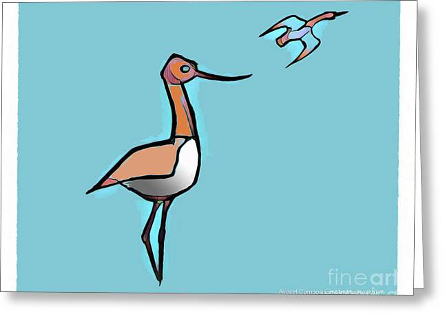 Avocet Composition 3 Greeting Card by Art MacKay