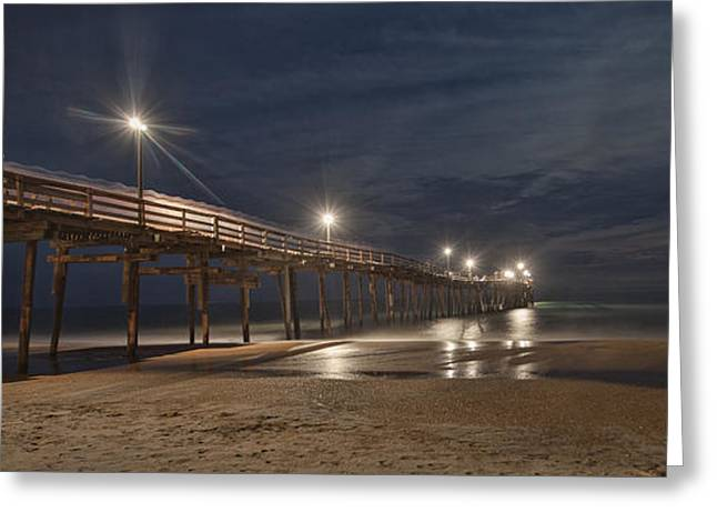 Avon Pier At Night Greeting Card by Laurinda Bowling