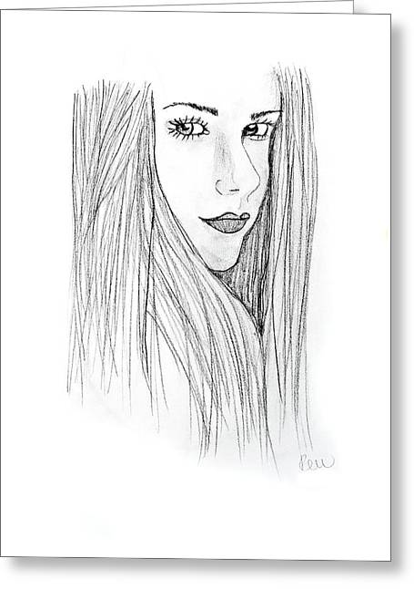 Greeting Card featuring the drawing Avril by Rebecca Wood
