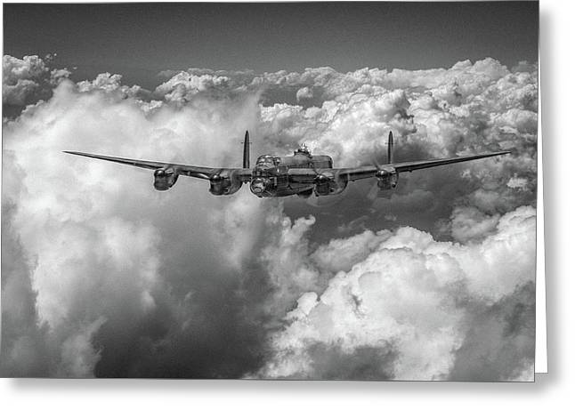 Greeting Card featuring the photograph Avro Lancaster Above Clouds Bw Version by Gary Eason