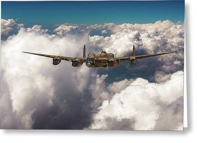 Greeting Card featuring the photograph Avro Lancaster Above Clouds by Gary Eason