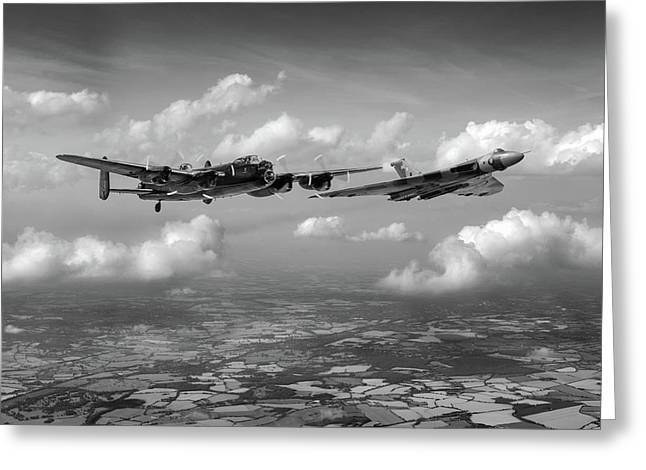 Greeting Card featuring the photograph Avro Sisters Bw Version by Gary Eason