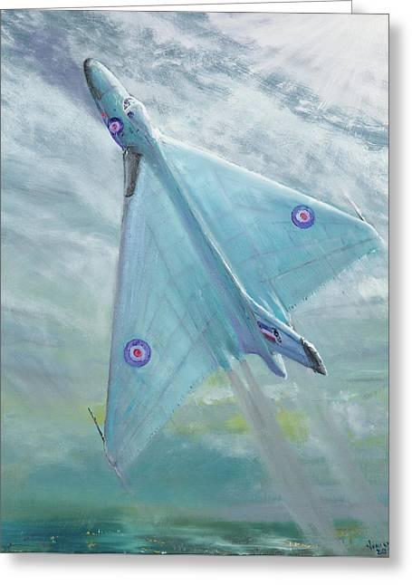 Avro Vulcan B1 Night Flight Greeting Card by Vincent Alexander Booth