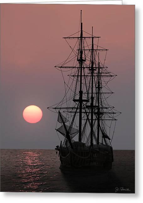 Awaiting The Sunset Greeting Card by Joe Bonita