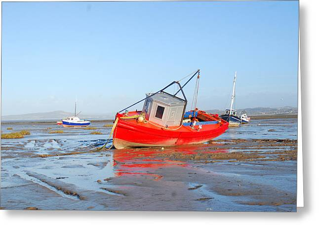 Awaiting The Tide Greeting Card by Peter Jenkins