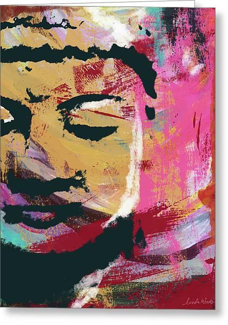 Awakened Buddha 3- Art By Linda Woods Greeting Card