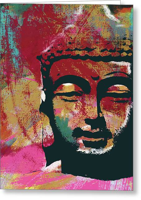 Awakened Buddha 4- Art By Linda Woods Greeting Card