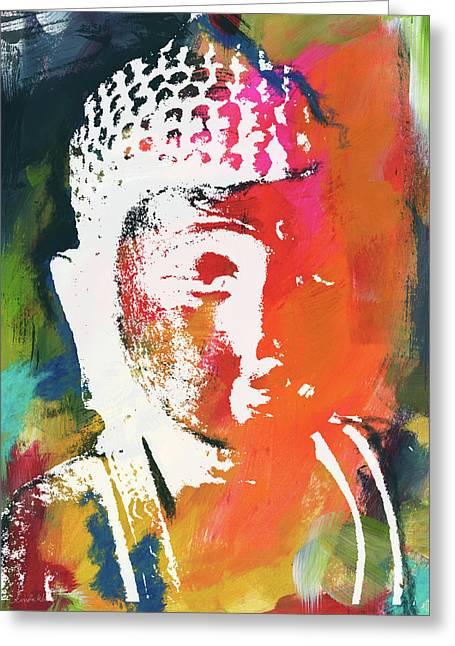 Awakened Buddha 5- Art By Linda Woods Greeting Card