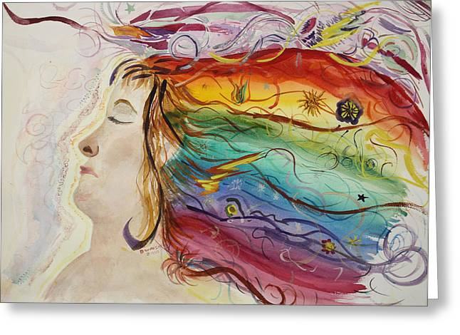 Greeting Card featuring the painting Awakening Consciousness by Donna Walsh
