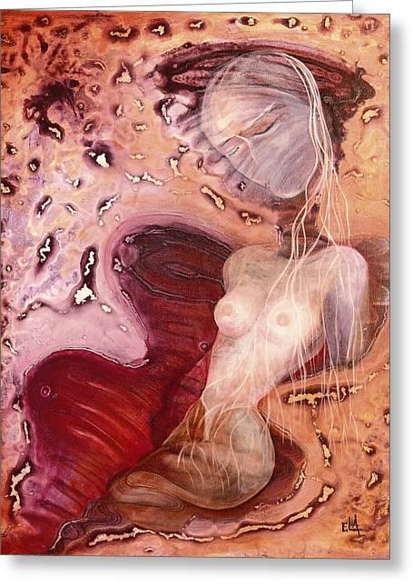 Awakening Of A Mummy Nefertiti Greeting Card by Art By Ela