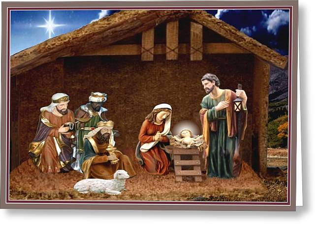 Away In The Manger Greeting Card by Ron Chambers