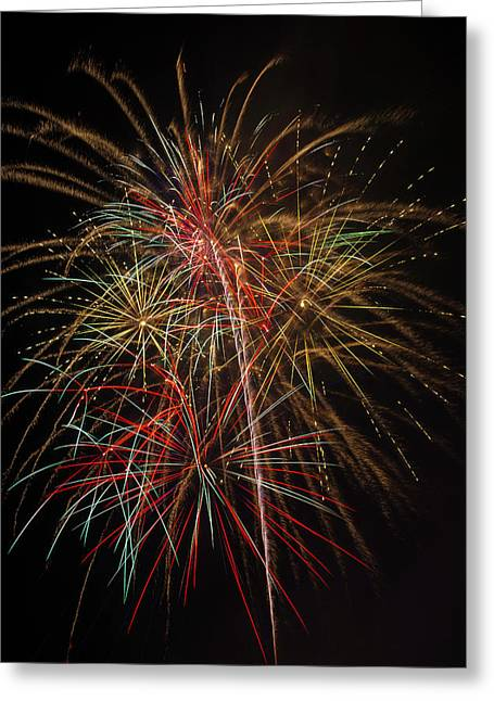 Awesome Amazing Fireworks Greeting Card by Garry Gay