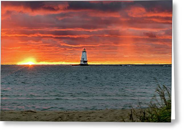 Awesome Sunset With Lighthouse  Greeting Card