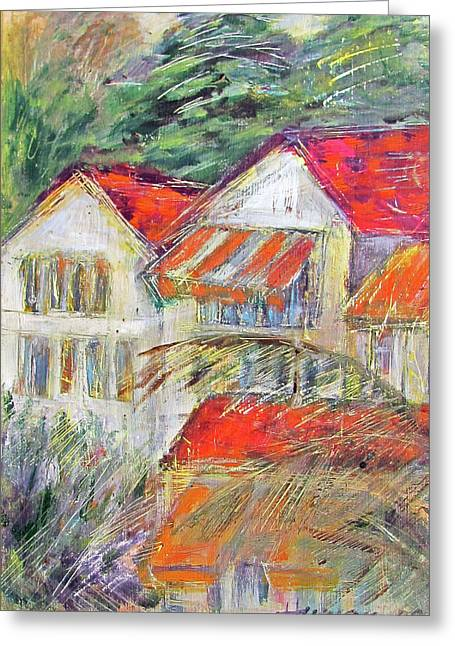 Awnings Greeting Card by Lily Hymen