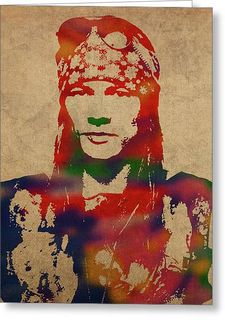 Axl Rose Watercolor Portrait Acdc Greeting Card