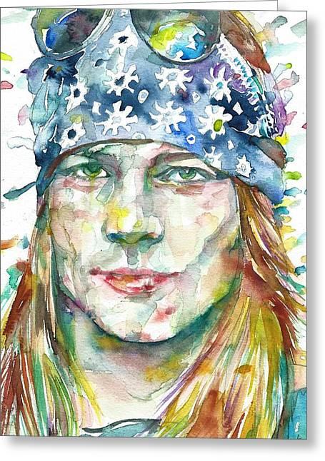 Axl Rose - Watercolor Portrait Greeting Card