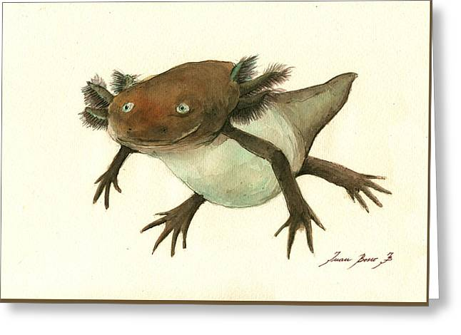 Axolotl Greeting Card by Juan Bosco