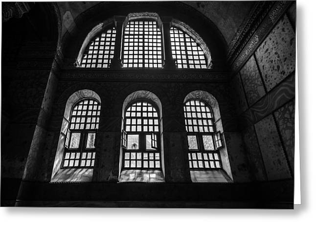 Aya Sofia Windows In Black And White Greeting Card by Anthony Doudt